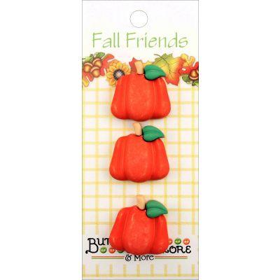 Buttons Galore Fall Buttons 3/Pkg Pumpkins - FA3-125