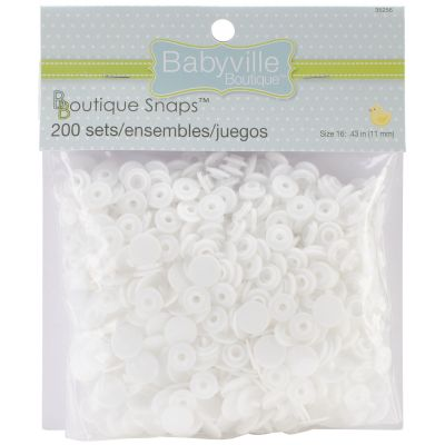 Babyville Boutique Snaps White Size 16 200/Pkg - 350SB-35256