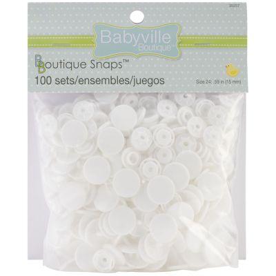 Babyville Boutique Snaps White Size 24 100/Pkg - 350SB-35257