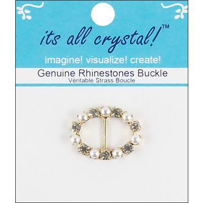 Vision Trims Genuine Rhinestone Buckle 28Mm Gold & Pearl  Oval - 3808