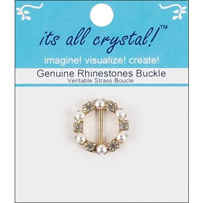Vision Trims Genuine Rhinestone Buckle 21Mm Gold & Pearl  Round - 3819