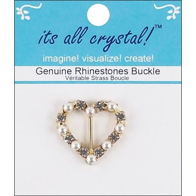 Vision Trims Genuine Rhinestone Buckle 26Mm Gold & Pearl  Heart - 3820