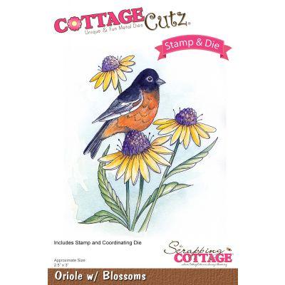 Cottagecutz Stamp & Die Set Oriole W/Blossoms 2.5