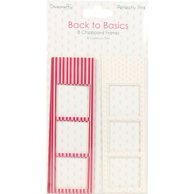 Dovecraft Back To Basics Chipboard Photo Frames 8/Pkg Perfectly Pink - DCPFR005