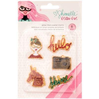 Shimelle Glitter Girl Enamel Charms 5/Pkg  - 343669