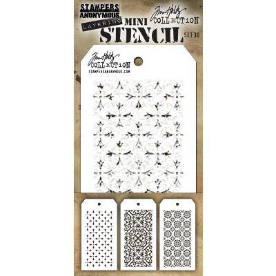 Tim Holtz Mini Layered Stencil Set 3/Pkg Set #30 - MTS-30