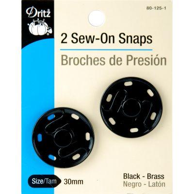 Dritz Sew On Snaps 30Mm 2/Pkg Black - 80-125-1