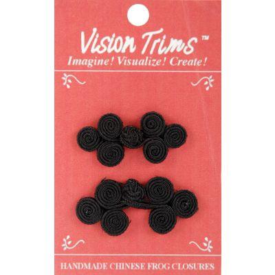 Vision Trims Handmade Chinese Frog Closures 5Cm 2/Pkg Black - 4696