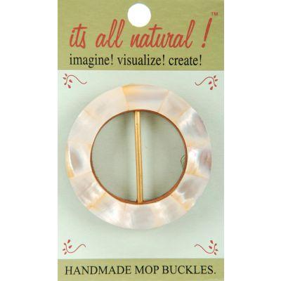 Vision Trims Handmade Mop Buckle Pearl White Circle 2 1/2