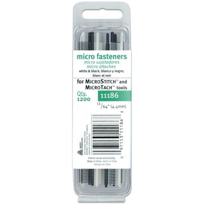 Avery Fasteners Micro Stitch Fastener Refills 4.4Mm White & Black 1,200/Pkg - 111860