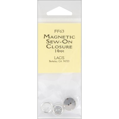 Lacis Magnetic Sew On Closure 14Mm 1/Pkg Nickel - FF63