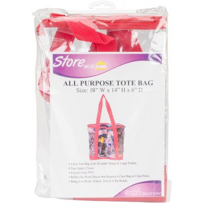 Innovative Home Creations All Purpose Clear Tote Bag Red 19