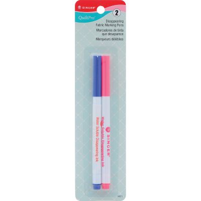 Singer Quiltpro Disappearing Fabric Marking Pens  Fine Pink & Blue 2/Pkg - 4371