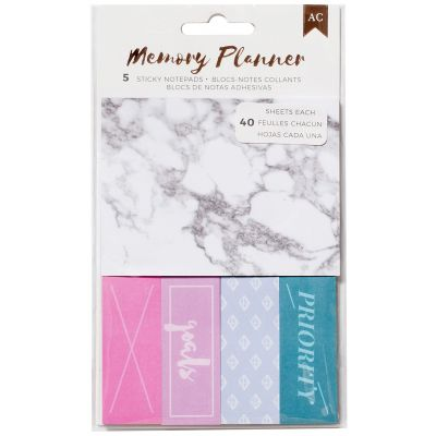 American Crafts Memory Planner Sticky Note Pack Marble Crush; 5 Pads/40 Sheets Each - 375060