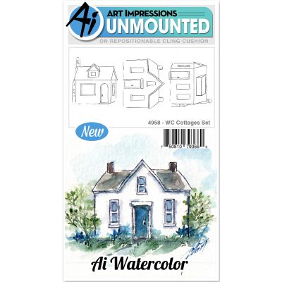 Art Impressions Watercolor Cling Rubber Stamps Cottages - WC4958