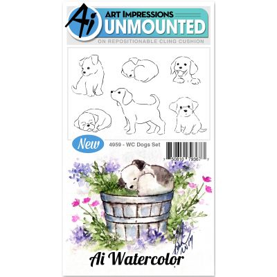 Art Impressions Watercolor Cling Rubber Stamps Dogs - WC4959