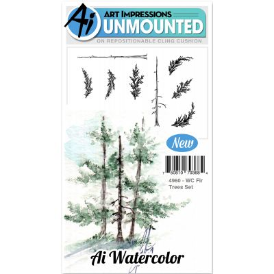 Art Impressions Watercolor Cling Rubber Stamps Fir Trees - WC4960