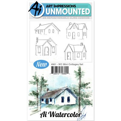 Art Impressions Watercolor Cling Rubber Stamps Mini Cottages - WC4961