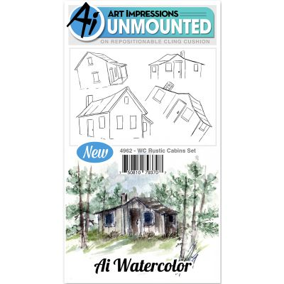 Art Impressions Watercolor Cling Rubber Stamps Rustic Cabins - WC4962