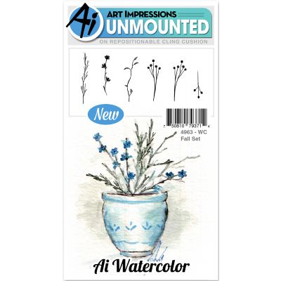 Art Impressions Watercolor Cling Rubber Stamps Fall - WC4963