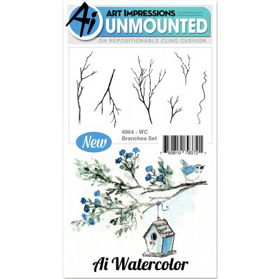 Art Impressions Watercolor Cling Rubber Stamps Branches - WC4964
