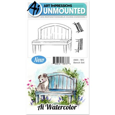 Art Impressions Watercolor Cling Rubber Stamps Bench - WC4965