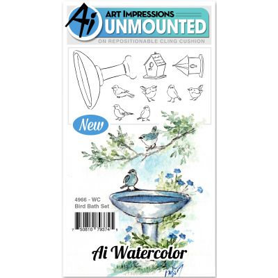 Art Impressions Watercolor Cling Rubber Stamps Bird Bath - WC4966