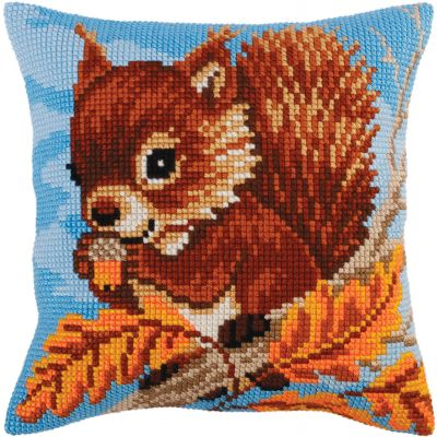 Collection D'Art Stamped Needlepoint Cushion Kit 40X40Cm Squirrel - CD5270