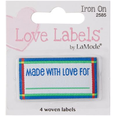 Blumenthal Iron On Lovelabels 4/Pkg Made With Love  Blue - 2500-2585