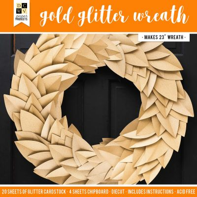 DCWV Paper Projects-Gold Glitter Wreath - Makes 1