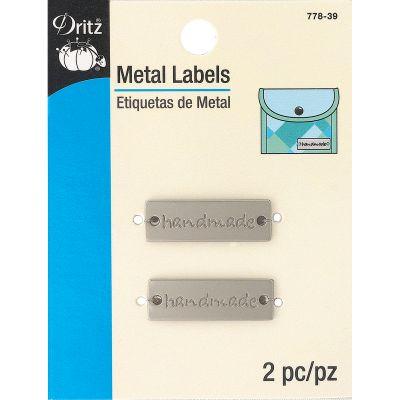 Dritz Metal Labels 2/Pkg Matte Nickel Handmade - 778-39