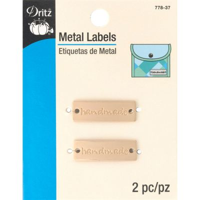 Dritz Metal Labels 2/Pkg Matte Gold Handmade - 778-37