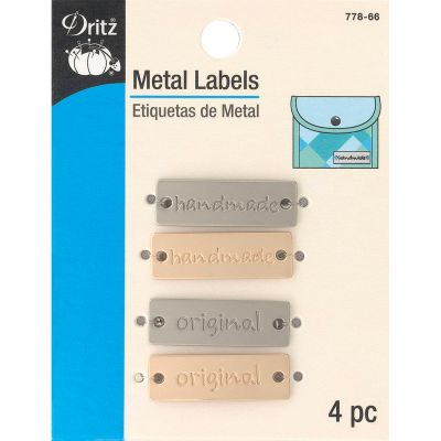 Dritz Metal Labels 4/Pkg Gold & Nickel Handmade & Original - 778-66