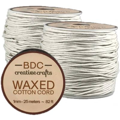 Waxed Cotton Bracelet Cord 1Mmx24M White - WCC1-WHITE