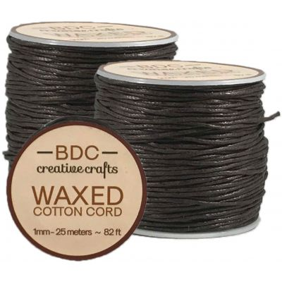 Waxed Cotton Bracelet Cord 1Mmx24M Brown - WCC1-BROWN