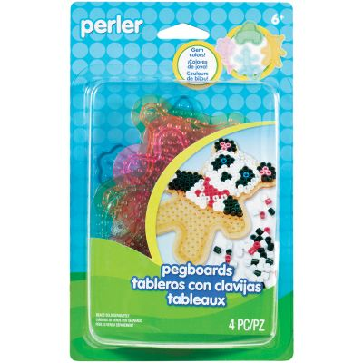 Perler Pegboards 4/Pkg Assorted Clear Gem - 80-22694