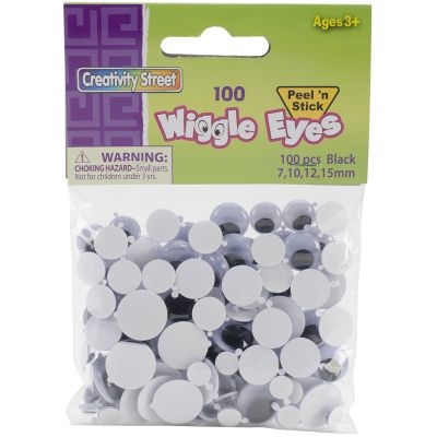 Peel & Stick Wiggle Eyes Assorted 7Mm To 15Mm 100/Pkg Black - 3446-05