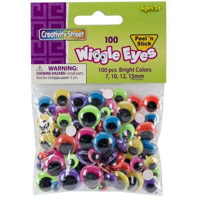 Peel & Stick Wiggle Eyes Assorted 7Mm To 15Mm 100/Pkg Brights - 3446-12