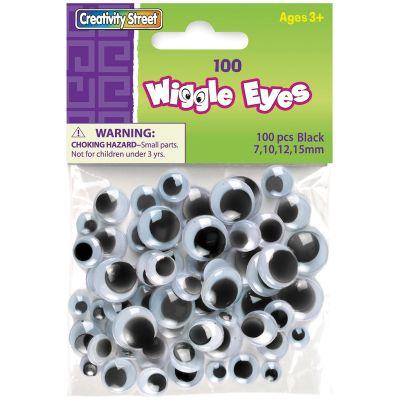 Paste On Wiggle Eyes Assorted 7Mm To 15Mm 100/Pkg Black  - 3446-02