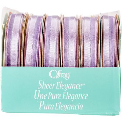 Offray Sheer Elegance Boxed Ribbon Assortment 24/Pkg-Light Orchid