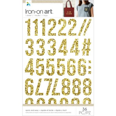 Momenta Iron On Applique W/Chunky Glitter Gold Numbers 32Pcs - MIO34241