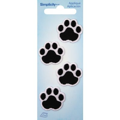 Wrights Iron On Appliques 4/Pkg Black Cat Paws - 193 9210