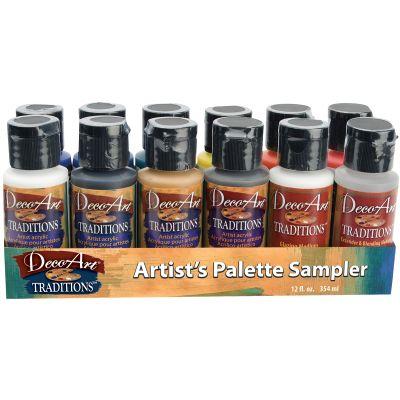 Decoart Traditions Acrylic Paints 1Oz 12/Pkg Artist'S Palette Sampler - DATSK01