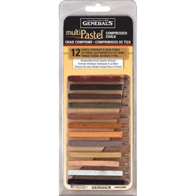 Multipastel Compressed Chalk Sticks 12/Pkg Earth, Portrait & Skin Tones - 94012ABP