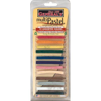 Multipastel Compressed Chalk Sticks 12/Pkg Assorted Colors - 40140-BP