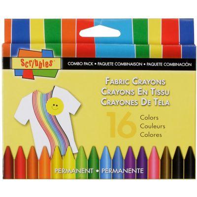 Scribbles Fabric Crayons 16/Pkg Primary & Neon - 30644