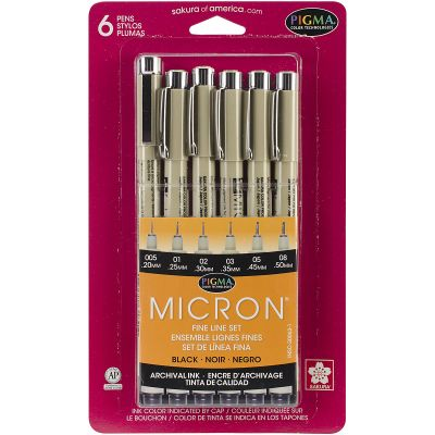 Pigma Micron Pens Assorted 6/Pkg Black - 30062