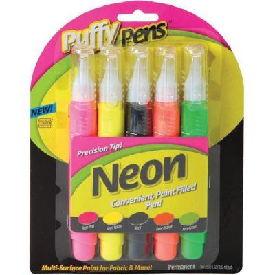 Puffy Paint Pens .63Oz 5/Pkg Neon - 26195