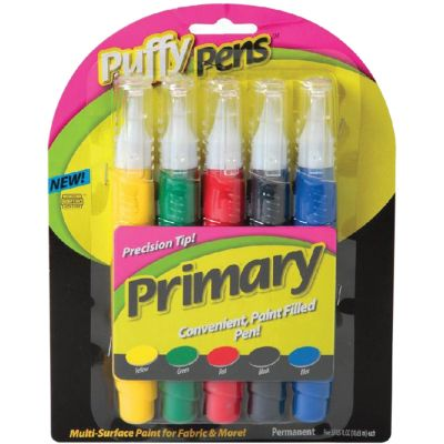 Puffy Paint Pens .63Oz 5/Pkg Primary - 26196