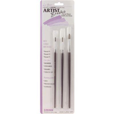 Red Sable Artist Brush Set 3/Pkg - A333